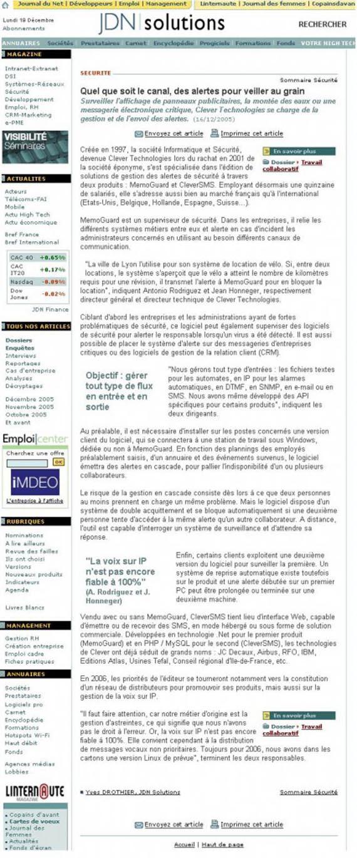 Alerte par SMS | article de presse JDN