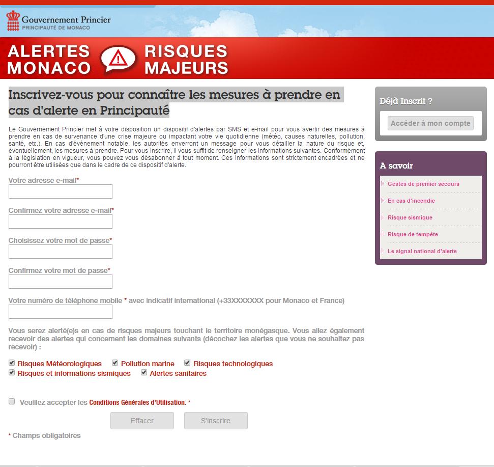 Systeme alerte SMS monegasque