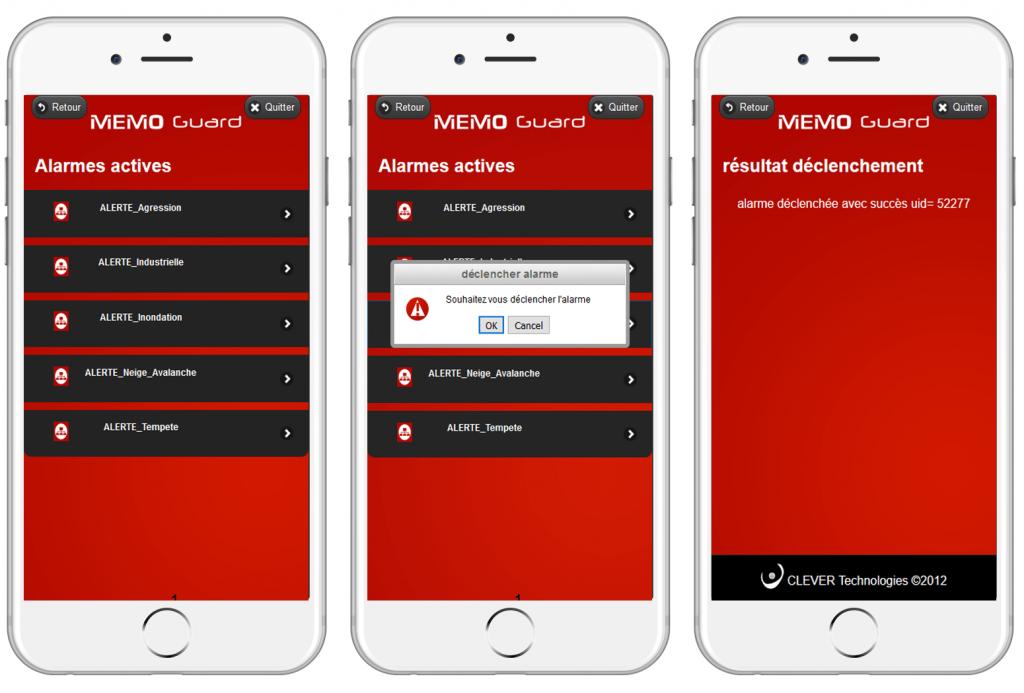 Interface de gestion de crise sur smartphone